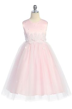 Pink Lace Accented Bodice with Tulle Flower Girl Dress JD1098P $54.95 on www.GirlsDressLine.Com