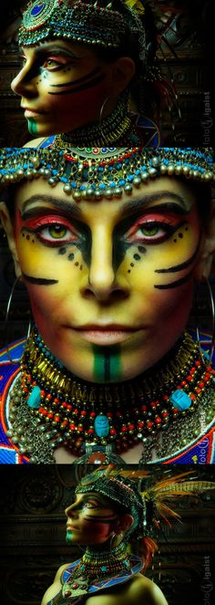 Incredible tribal looking makeup design.