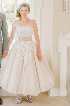 Straight Across A-line Blush Organza Tea Length Short Designer Wedding Dress with Lace Applique