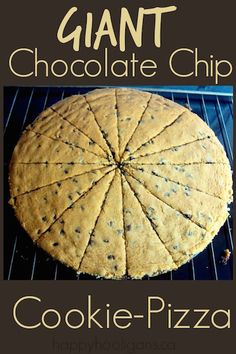"""Feed a crowd with this giant chocolate chip cookie pizza. Awesome alternative to birthday cake! 1 bowl and 10 minutes of """"work"""". Feeds 16 hungry kids. Potluck Desserts, Cookie Desserts, Cookie Recipes, Delicious Desserts, Dessert Recipes, Yummy Food, Yummy Eats, Fun Food, Chocolate Chip Cookie Pizza"""
