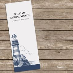Lighthouse Memorial/Funeral Bookmark - Prayer Card