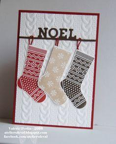 Stampin' Up Christmas Stocking thinlits - Bonjour, Sur cette carte, tout fait penser à un doux moment cocooning entre l'embossage tricot et les jolies chaussettes. Vous pourr...