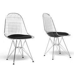 Baxton Studio Avery Mid-Century Modern Wire Chair with Black Cushion - Set of 2
