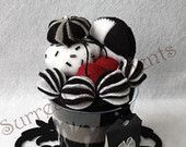 Surreal Black and White Ice Cream Felt Cup with mini Hand-painted Card: Gift Box Included
