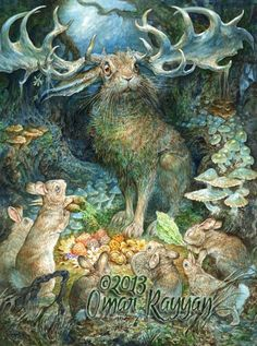 Omar Rayyan says he doesn't think in terms of genre. The fantasy illustrator's personal work, primarily watercolor paintings with the occasional oil-on-panel, is a combination of eclect… Woodland Creatures, Fantasy Creatures, Mythical Creatures, Art And Illustration, Fantasy Kunst, Fantasy Art, Omar Rayyan, Lapin Art, Rabbit Art