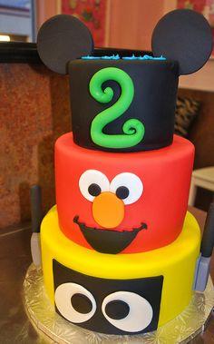 Mickey Mouse, Elmo, & Yo Gabba Gabba Cake