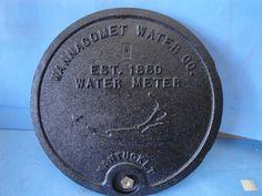 "Nantucket MA Wannacomet Cape Cod 12"" Cast Iron Water Meter Box Cover OEM Boston"