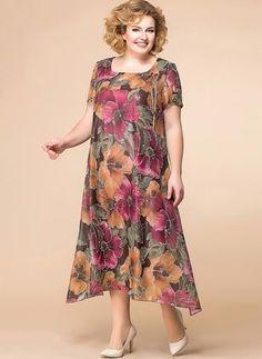 Floral Short Sleeve Midi A-line Dress - Women Fashion Simple Dresses, Plus Size Dresses, Plus Size Outfits, Cute Dresses, Casual Dresses, Maxi Dress With Sleeves, Chiffon Dress, Winter Mode, Dress Sewing Patterns