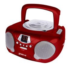 Groov-e GVPS713RD Boombox Portable CD Player with Radio - Red: Amazon.co.uk: Hi-Fi & Speakers