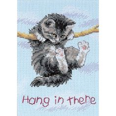 """Dimensions Jiffy Hang On Kitty Mini Counted Cross Stitch Kit-5""""X7"""" 14 C, 5""""x7"""" 14 Count"""