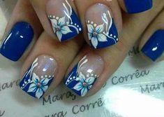 Blue Acrylic Nails, Blue Nails, Arylic Nails, Natural Nail Art, Finger, Nagellack Trends, Pretty Nail Art, Heart Nails, Flower Nails