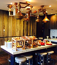 Custom Lighting Feature at Buffet   iWorks Hand Finished Copper   Custom Made by iWorks