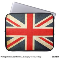 Vintage Union Jack British Flag Laptop Sleeve ($32) ❤ liked on Polyvore featuring accessories, tech accessories, water resistant laptop case, laptop sleeve cases, neoprene laptop case, laptop cases and laptop travel case