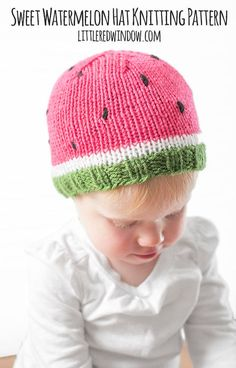 553c35d5606 Watermelon Baby Hat KNITTING PATTERN   Watermelon Pattern   Summer Knit Hat    Baby Watermelon Hat   Baby Fruit Hat   Knitted Fruit Hat