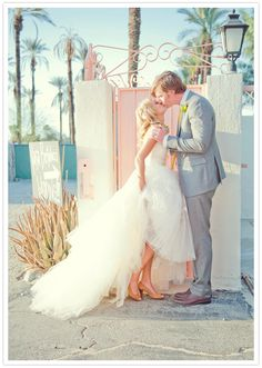 Such a sweet #wedding photo with a gorgeous Palm Springs backdrop! From http://100layercake.com/blog/2012/09/07/palm-springs-wedding-molly-kyle/  Photo Credit: http://sunandsparrow.com/