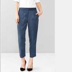✨ NWT Navy Blue Gap Joggers  Brand new with tags! :: pic 1 best shows color and style! // Features soft and comfy Tencel material // interior drawcord ties // banded waist // faux fly // angled side pockets, rear welt pockets :: Questions and offers welcome :: bundle & save! :: free gift with $15+ purchase ❤️❤️ GAP Pants