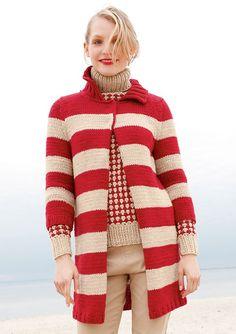 Mantel in Rot und Beige, stricken mit Rebecca - mein Strickmagazin und ggh-Garn CAMELLO (85% Schurwolle / 15% Kamelhaar).  Garnpaket zu Modell 16 aus Rebecca Nr. 51