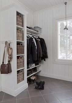 Replace shoe cubby and add Billy bookcase, narrower shelf/cabinet for shoes and… .Replace shoe cubby and add Billy bookcase, narrower shelf/cabinet for shoes and coats/bags above – Heimkino Systemdienste Narrow Shelves, Open Shelving, Wardrobe Design, Florida Home, My New Room, Sweet Home, New Homes, House Styles, Modern