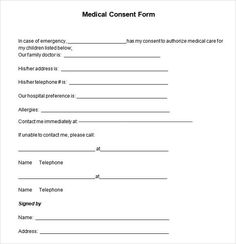 Sample Child Medical Consent Form | Free Printable Medical Consent Form Free Medical Consent Form