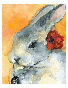 Senorita Betty- Rabbit Art. $20.00, via Etsy.