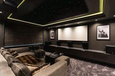 The home in Cheshire features this cinema as well as its own Jacuzzi and takes in views of a nearby golf course while also boasting astroturf garden Dream House Exterior, Dream House Plans, Home Cinema Room, Self Build Houses, Build Your Own House, Smart Home Automation, Home Cinemas, New Homes For Sale, Detached House