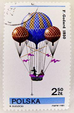 Stamp with montgolfière, Polska 2.50 zloty