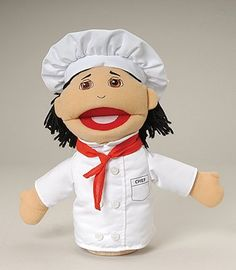 "Marvel MTC-318 Mtc318 Chef Multi Ethnic Career Puppet  Role Playing Takes On A Realistic Dimension With This Open-Mouth Hand Puppet That Depicts A Chef  Has A Soft Stuffed Head With Embroidered Facial Features, Yarn Hair, And Permanently Attached Clothing  9"" Hand Puppet  Ages 3 Yrs. +"