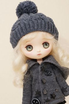 JBbearshop - Grey hat  for Jerryberry, Odeco Chan & Middie Blythe dolls