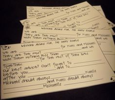 "Mad Lib ""Guestbook"" Cards.  Good alternative.  Could be funny!"
