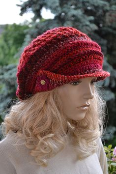 Red dark red fuchsia Crocheted  PEAKED CAP beanie Slouchy Winter Fashion , very warm,women hat,Girls Hat,unique gifts
