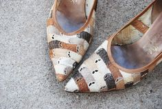 vintage 50s High Heel Shoes  Tonal Brown and Beige by jessamity, $34.00
