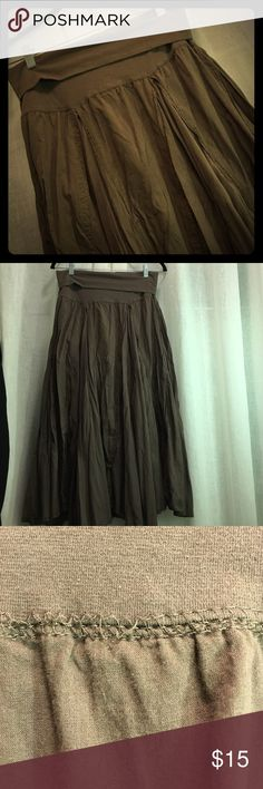 Baba Long Brown Boho Shabby Chic Skirt Baba long brown skirt. Shabby chic Boho style. It's a mocha creamy brown color and super cute! Size medium. The stitching on the waistline looks loose but it's still very tight and is not a hole (seen in Picture 3) preloved condition with lots of life left! The waist band is meant to be folded down as shown in the pictures but I actually wore it up and as a maternity skirt 😁 Smoke free and pet free home! Always open to offers and bundling Baba Skirts…