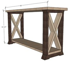 X leg console table - free and easy project plans from https://sawdustgirl.com.  #DIY #Furniture #Plans