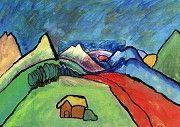 Expressionismus in der Grundschule. Fortsetzen einer Karte des Künstlers Alexej von Jawlensky. Einsatz von leuchtenden Farben.
