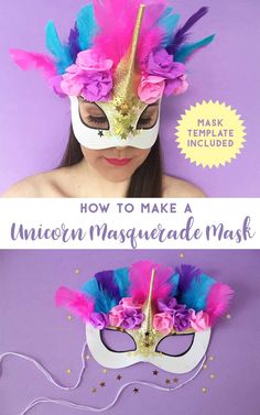 What do you need to make the Unicorn Masquerade Mask: Download File of Unicorn Mask Template (From Freebies Library) White Card Crepe Paper (Pink and Purple) Gold Glitter Gold Stars Pink Holographic Stars Feathers (Pink, Purple and Blue) Hot Glue Gun and Glue Refills Liquid Glue Paintbrush Scissors Sharpie String or Ribbon Gold Glitter