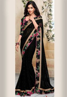 Buy Black Faux Georgette Jacquard Saree with Blouse online, work: Woven, color: Black, usage: Casual, category: Sarees, fabric: Georgette, price: $52.09, item code: SEW1322, gender: women, brand: Utsav