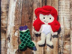 Ariel Princess Non Paper Doll Felt Doll by Pluzzies on Etsy     doll, plush, fabric, felt, girl, Disney, Little Mermaid, princess