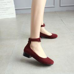 Velvet Ankle Straps Low Chunky Heels Women Pumps 6636