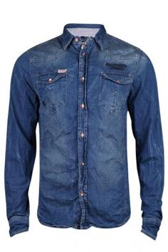 Denim Shirt Men | MSS13SIL51 Denim Shirt Men, Denim Top, Dark Denim, Western Shirts, Western Wear, Plain Shirts, Cool T Shirts, Garra, Sherwani