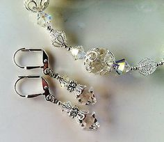New w/Swarovski Clear/Ab Finish Bicone Bead Crystal Bracelet and Earring Set