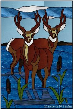 Custom Made Two Deer panel for a window or a door