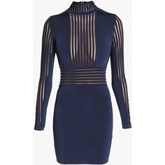 Balmain Sheer stretch viscose jersey mini dress (€2.140) ❤ liked on Polyvore featuring dresses, stretch dress, blue long sleeve dress, blue mini dress, slimming dresses and long sleeve short dress