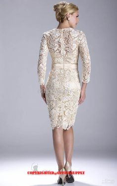 Champagne Long Sleeved Knee Length Lace Evening Dress Mother of the Bride Gown with Band N3396