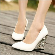 USD18.49Fashion Pointed Toe Closed Wedges High Heel Basic  White PU Pumps