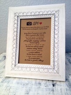 Fun new activity for wedding reception: iSPY! Get your guests involved in a photo hunt.