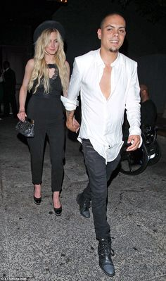 Ashlee Simpson wearing Chanel Platform Pearl Pumps.