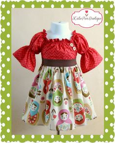 RTS 12-18 months, Fall dress, Peasant dress, Nesting doll dress, girls dress, toddler dress, dress-Girls sizes 6 months-5 years