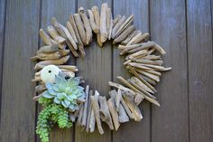 Driftwood Sunburst and Faux Succulent Wreath by GreenThumbGarage, $66.00