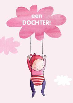 een dochter tekening baby - Felicitatiekaarten - Kaartje2go
