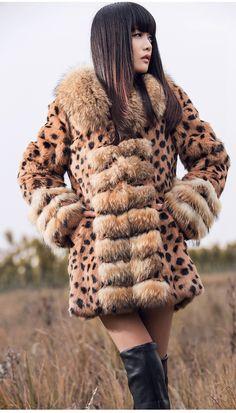 New Real Rabbit Fur Raccoon Collar Women Coat Jacket Overcoat Garment Fur Casual, Furry Girls, Autumn Street Style, Fur Fashion, Fur Collars, Fur Trim, Mantel, Asian Girl, Winter Outfits